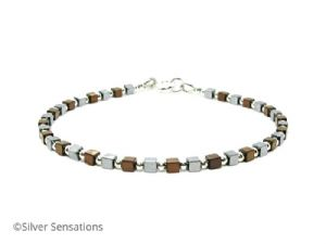 Tiny Silver & Bronze Hematite Cubes Bracelet With Sterling Silver Beads